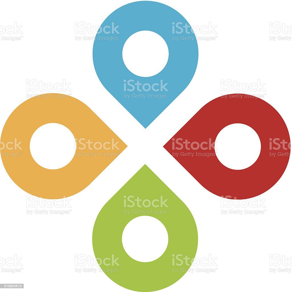 Global partnership positioning system network logo icon set vector art illustration