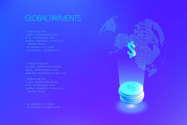 Global payment system vector art illustration