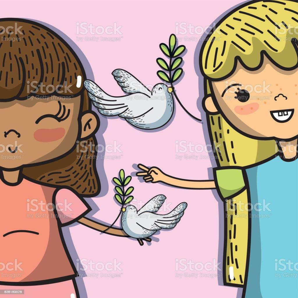 Ilustración De La Paz Mundial Y Amor A La Armonía En Todo El Mundo Y