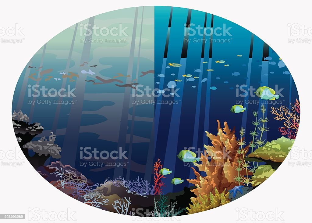 Global pollution of the ocean and sea. vector art illustration