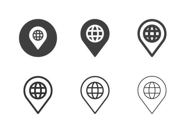 Global Position Icons - Multi Series vector art illustration