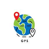GPS. Global Positioning System. GPS icon. GPS vector. GPS icon vector. GPS logo. GPS symbol. GPS sign. GPS web icon. GPS Navigation. GPS icon isolated flat on white background. Trendy GPS icon design for logo, web, app, UI.
