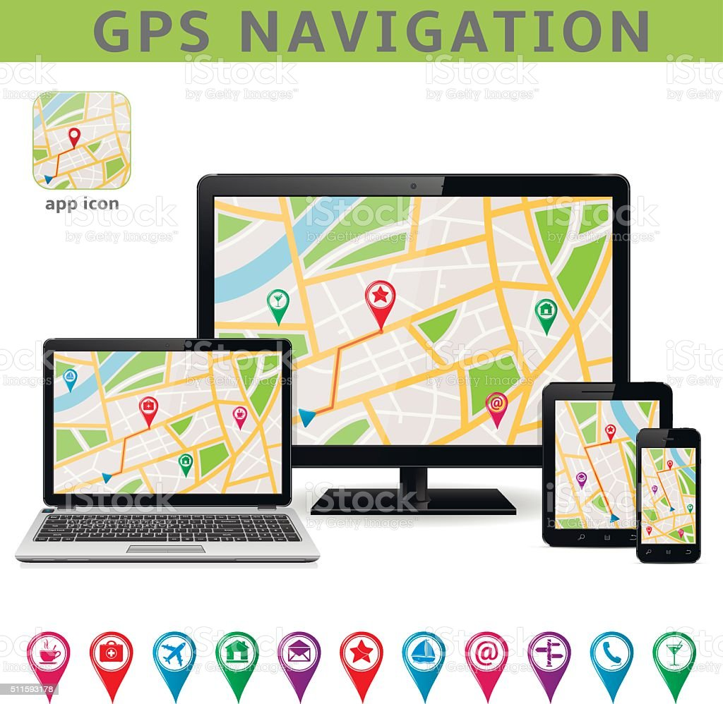 global positioning system navigation stock vector art more images
