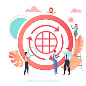 Global production cycle concept. Round sign or icon with people. Vector illustration in trendy living coral color, flat style.