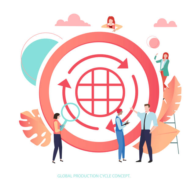 ilustrações de stock, clip art, desenhos animados e ícones de global production cycle. coral sign or icon with people, flat style. - economia circular