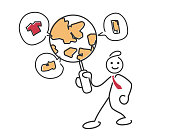 Global Range World Class Customer Support E-commerce Stickman Illustration Concept