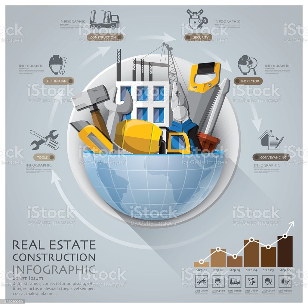 Global Real Estate And Construction Infographic With Round Circle Diagram vector art illustration