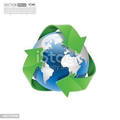 istock Global Recycle, Arrow around the globe.vector 485209586