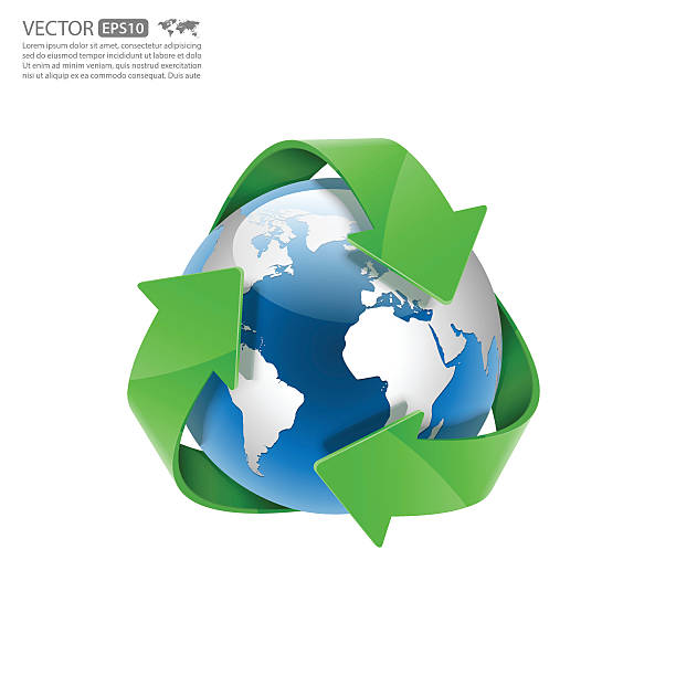 global recycle, arrow around the globe.vector - recycling stock illustrations