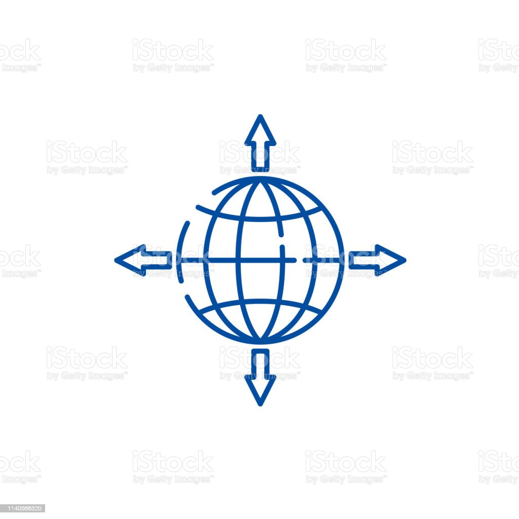 Global sales channels line concept icon. Global sales channels flat...
