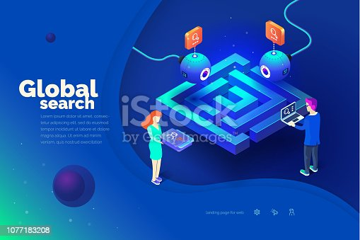 1054713428 istock photo Global search. A man with a laptop interacts with a global tracking system. Data collection. World map. Modern vector illustration of isometric style. 1077183208