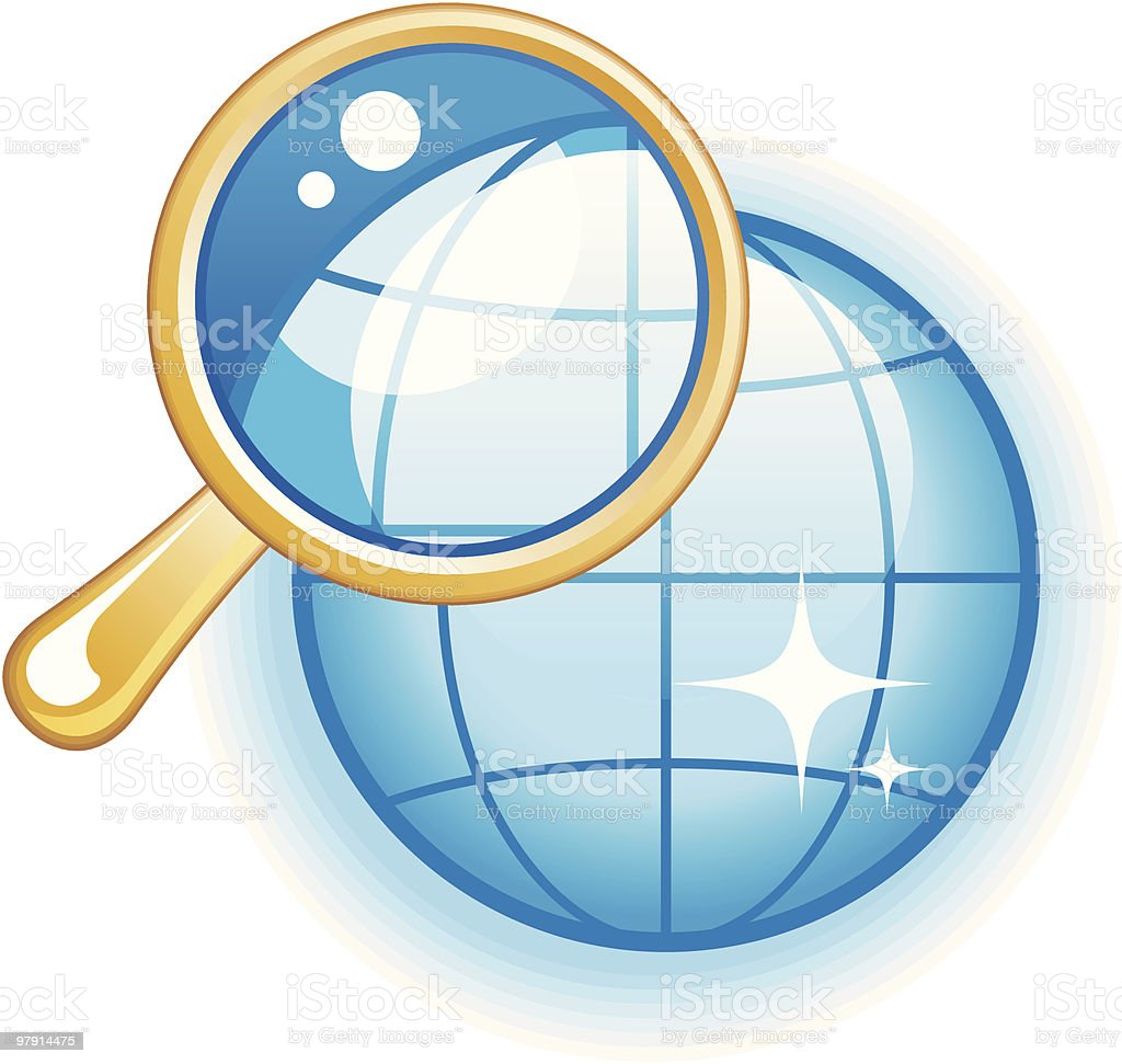 Global Search Glossy Vector Icon royalty-free global search glossy vector icon stock vector art & more images of cartography