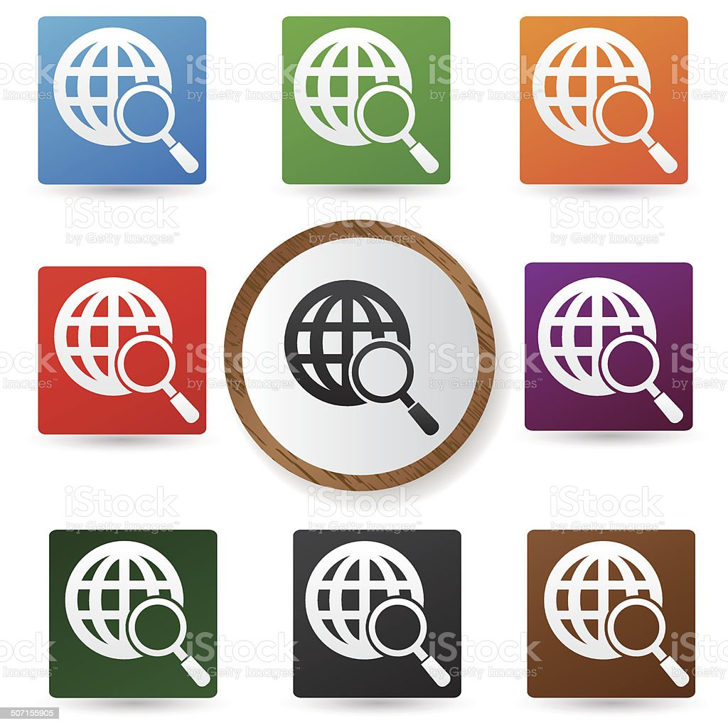 Global searching symbol,Color buttons,vector royalty-free stock vector art