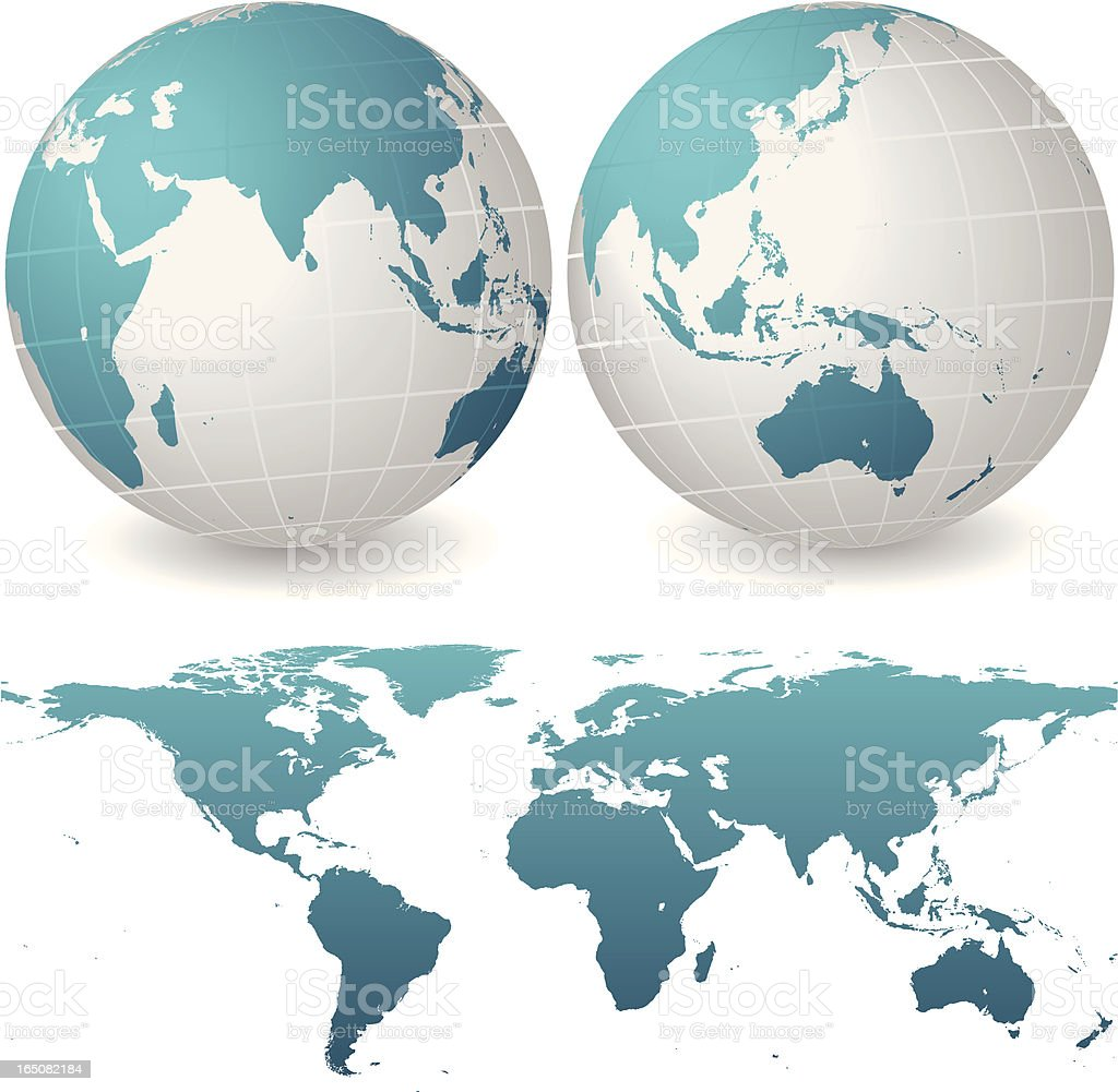 Global set of maps featuring Asia and Australia royalty-free stock vector art