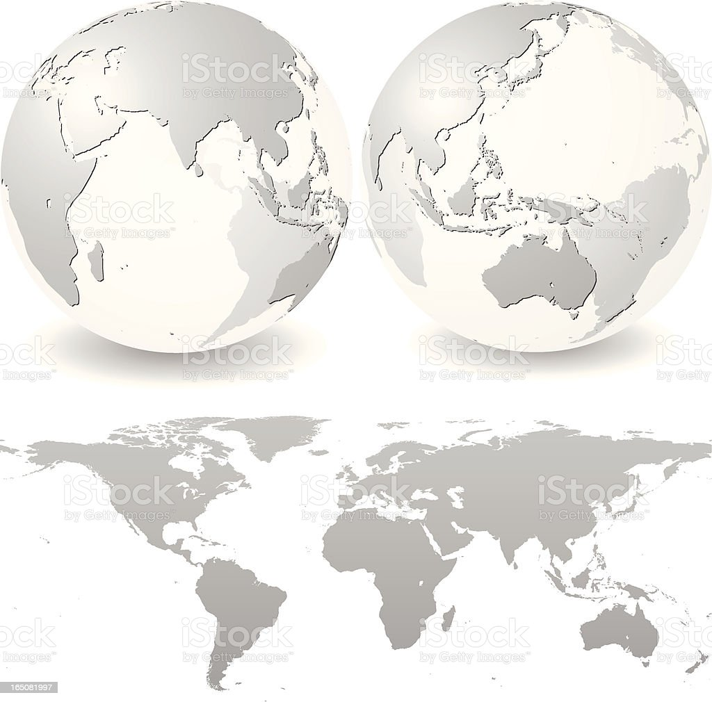 Global Set with Map Series - Africa Asia and Australia royalty-free stock vector art