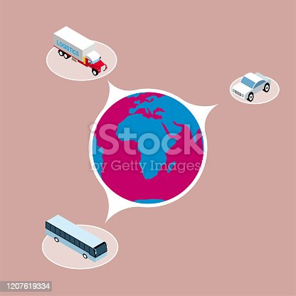 Global sharing, truck sedan and bus. The background is brown.