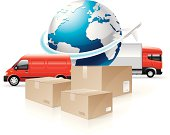 Vector illustration of an airplane flying around the Earth, delivery trucks and cardboard shipping boxes on the white background