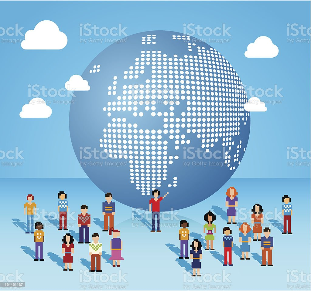 Global Social media people from Europe and Africa vector art illustration