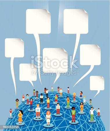 Social media people network connection concept with blank bubbles speech over World globe. Vector file layered for easy manipulation and customisation.