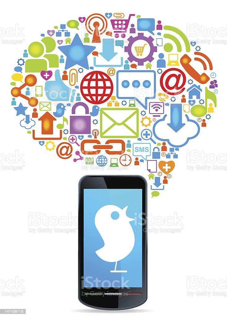 Global social network telephone royalty-free stock vector art