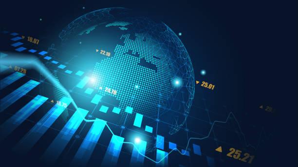Globaler Aktienmarkt oder Devisenhandelsdiagramm – Vektorgrafik