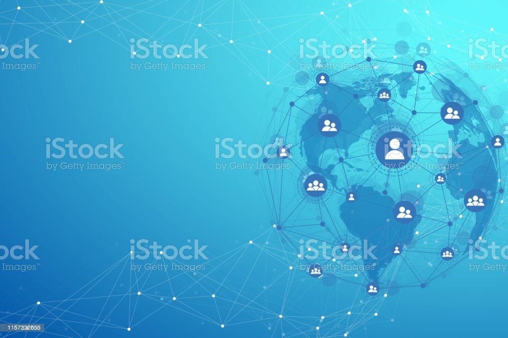 Global structure networking and data connection concept. Social...