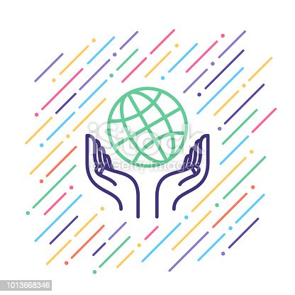 Line vector illustration of charity work.