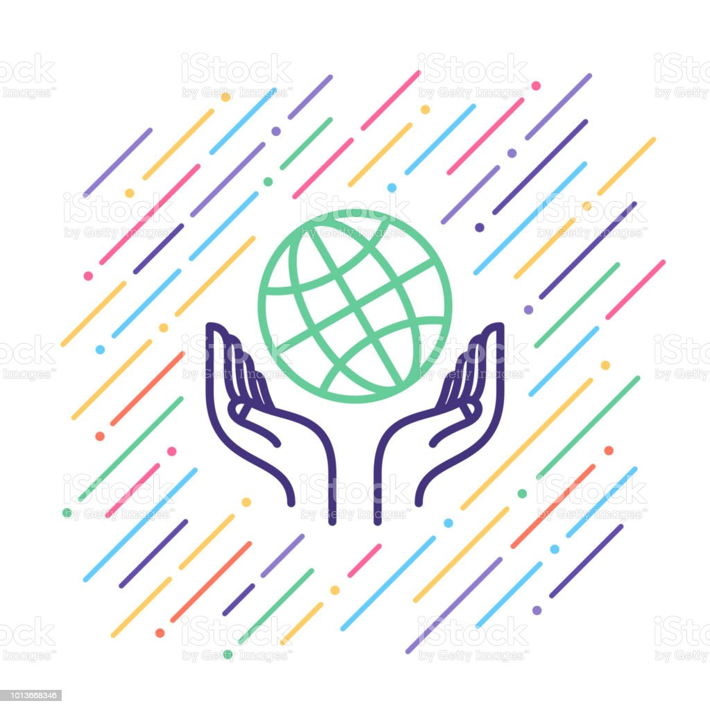 Global Support Line Icon vector art illustration