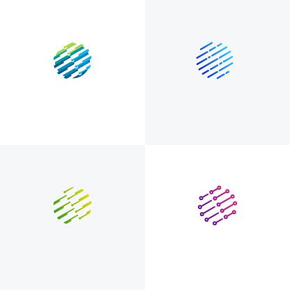 Global Tech Logo designs concept vector, Pixel Circle logo template