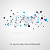 Abstract Cloud Computing and Global Network Connections, IT, IoT or Technology Concept Background or Cover Design Element Template with Icons - Illustration in Editable Vector Format