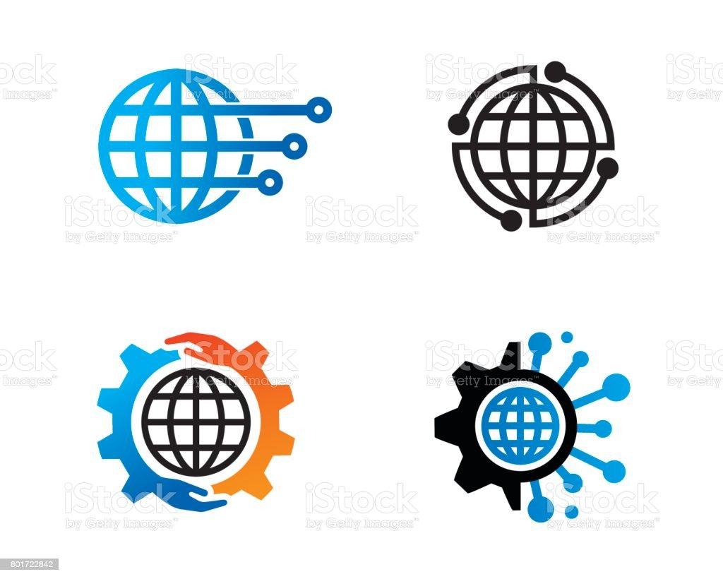 Global Technology Symbol Template Design Vector, Emblem, Design Concept, Creative Symbol, Icon vector art illustration