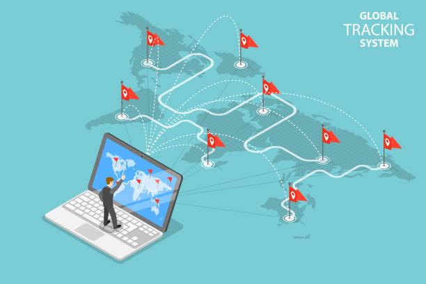 ilustraciones, imágenes clip art, dibujos animados e iconos de stock de global concepto vector plano isométrico del sistema de seguimiento. - global