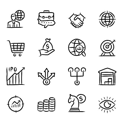 Global Trade Hand Drawn Line Icons