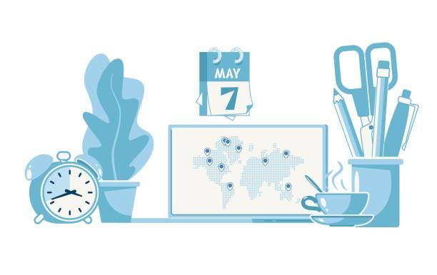Global Trading y Vector Plano Minorista Mundial - ilustración de arte vectorial