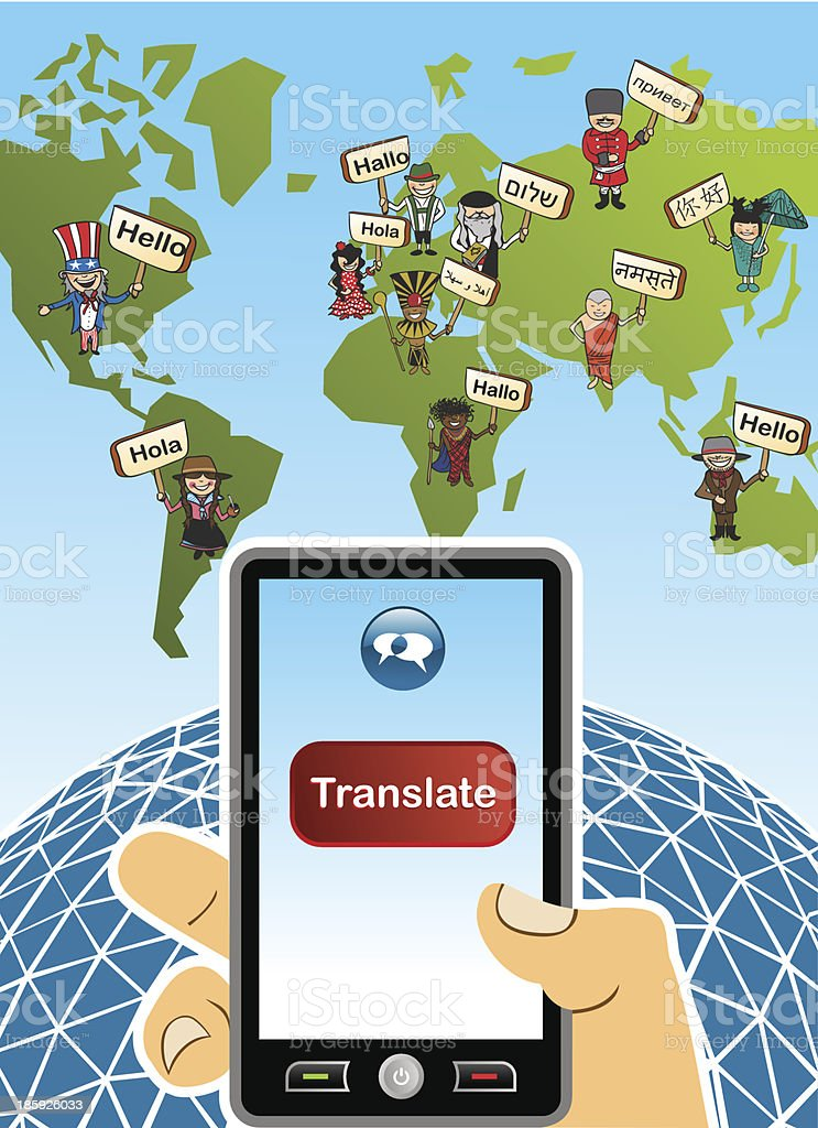Global translate app World map, human hand with smartphone composition. vector art illustration