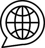 istock Global Translator Concept, Chat Bubble in side Globe Vector line Icon Design, Language Translation symbol on white background, Dub localization stock illustration 1306668338
