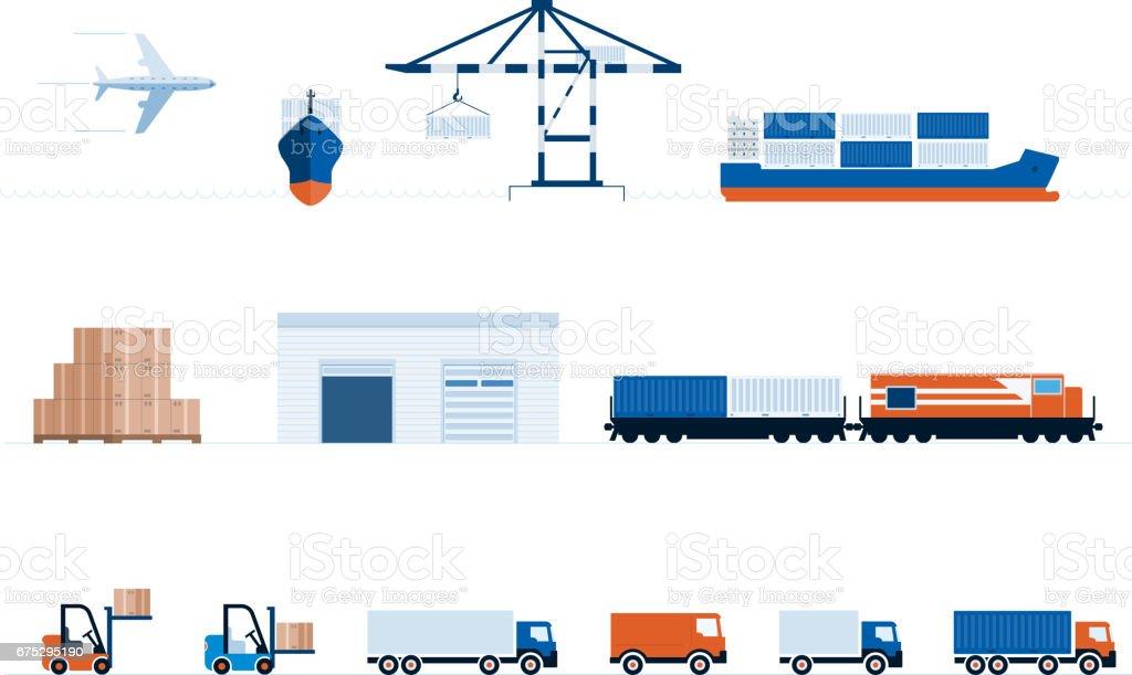Global Transport und Lieferung – Vektorgrafik