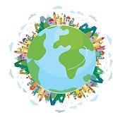 Global travel concept - cute design