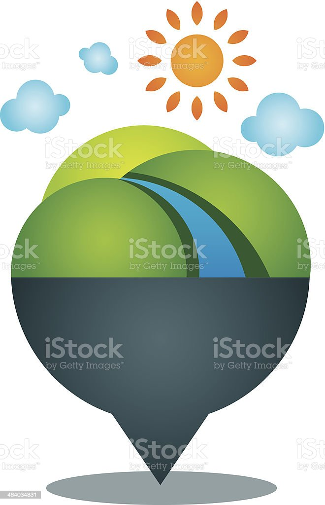 Global village world nature landscape locator position icon logo vector art illustration
