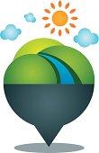 Global village world nature landscape locator position icon logo