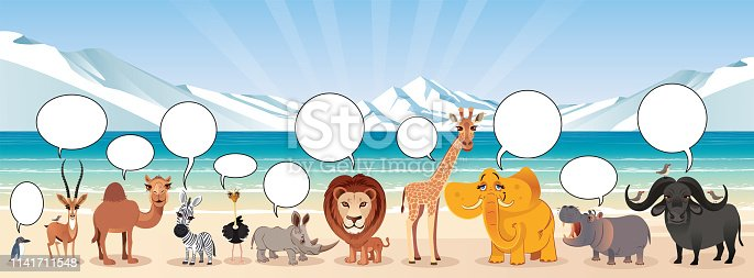 Vector Global warming and animals, melting of glaciers