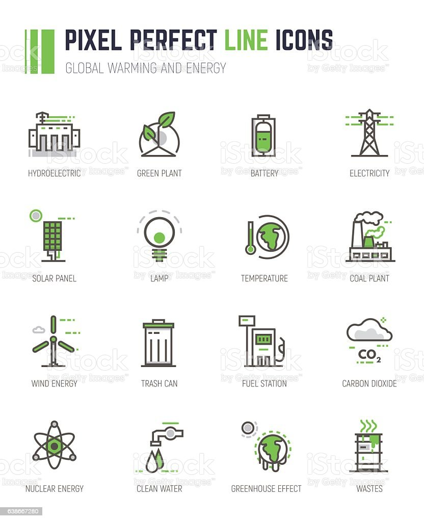 Global warming and energy line icons vector art illustration