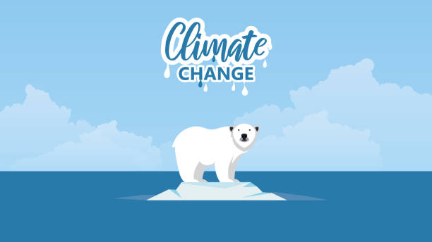 illustrazioni stock, clip art, cartoni animati e icone di tendenza di global warming. climate change concept. polar bear on floating ice. - climate change