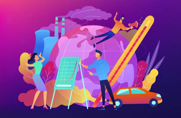 ilustrações de stock, clip art, desenhos animados e ícones de global warming concept vector illustration - alter do chão