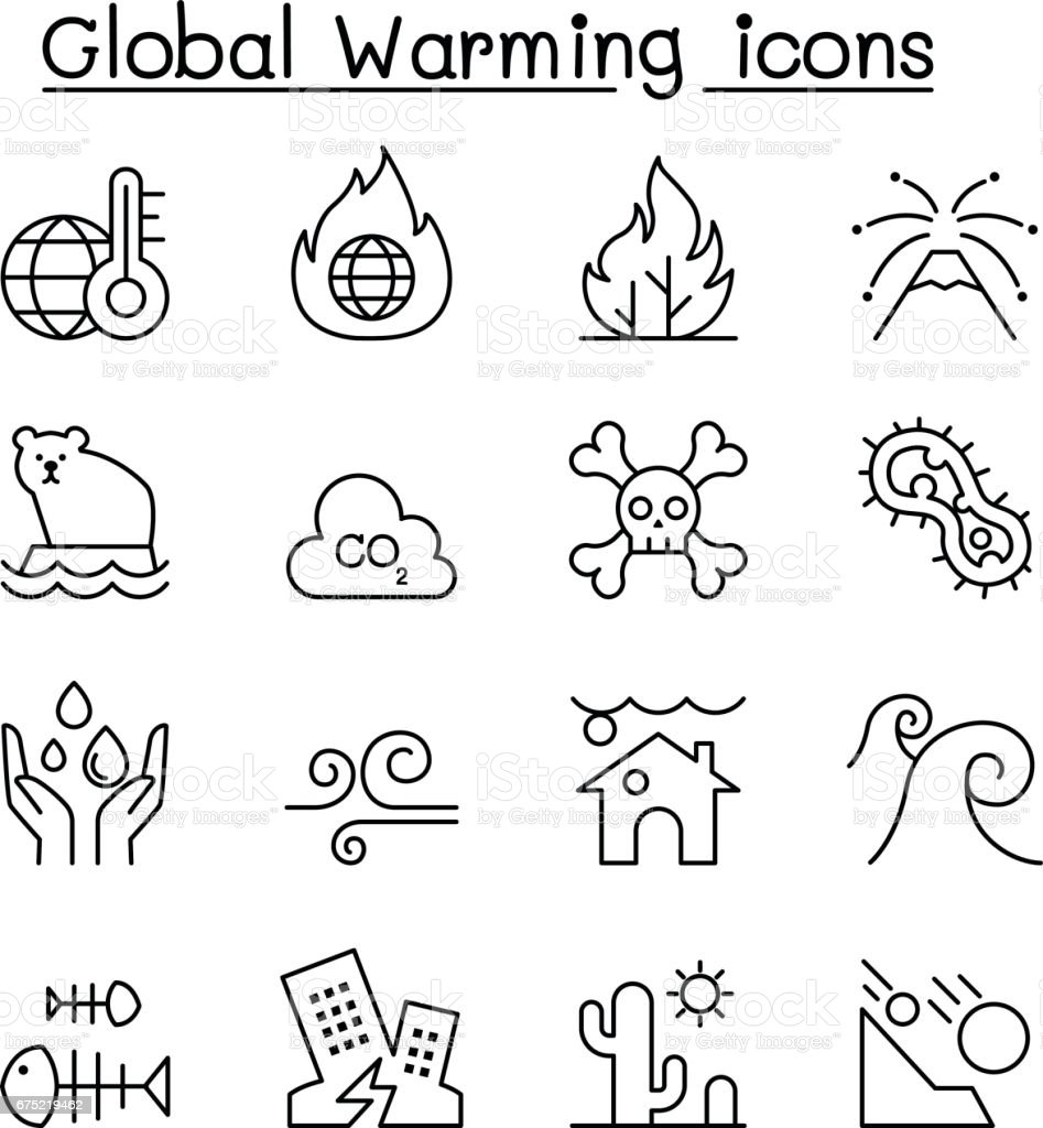 Global warming, Disaster, catastrophe icon set in thin line style royalty-free global warming disaster catastrophe icon set in thin line style stock vector art & more images of accidents and disasters