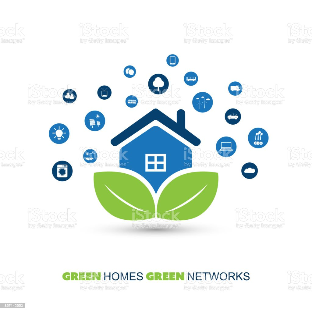 Global Warming Eco Friendly Home Design Concept With Icons Stock ...