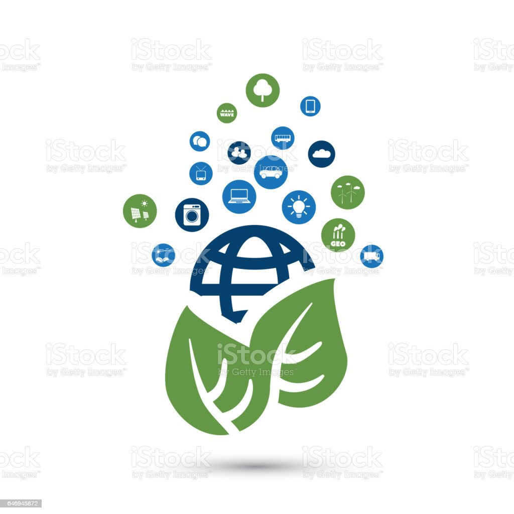 Global Warming, Eco Friendly World - Design Concept with Icons vector art illustration