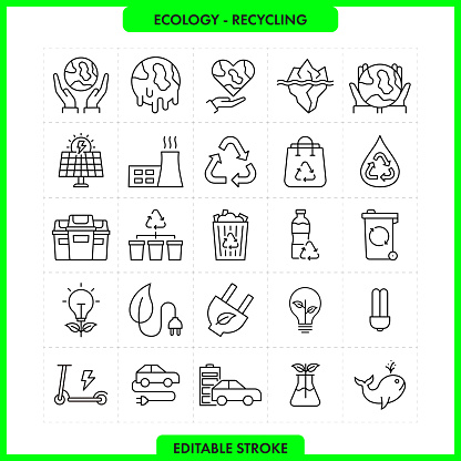 Global Warming Icon Set. Editable Stroke