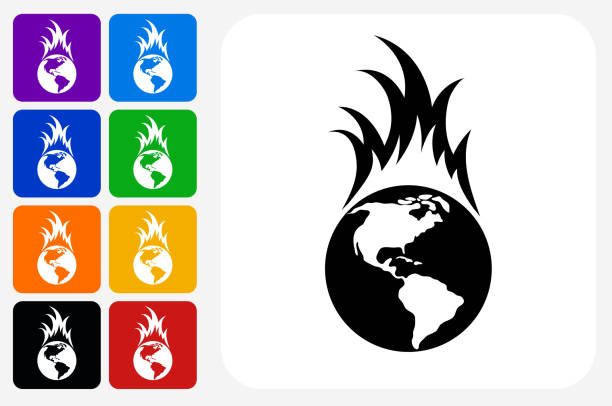Royalty Free Global Warming Symbol Fire Flame Clip Art Vector