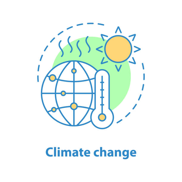 illustrazioni stock, clip art, cartoni animati e icone di tendenza di global warming icon - climate change